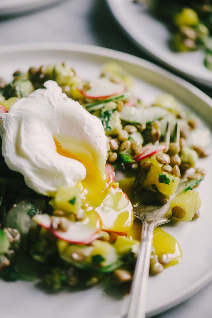 This summer lentil salad with poached eggs is crunchy, fresh, and tangy. It's packed with protein and makes for an easy, satisfying packed lunch or super-quick weeknight dinner.