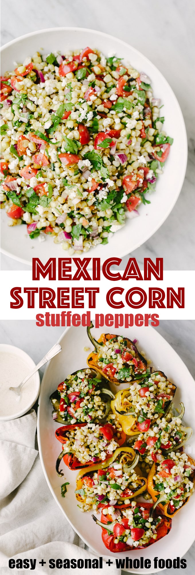 Grilled mexican street corn stuffed peppers are a fast, easy, vegetarian meal. This delicious real food + whole food recipe is packed with vegetables and an easy weeknight dinner, lunch, or side dish. #healthy #wholefood #realfood #vegetarian