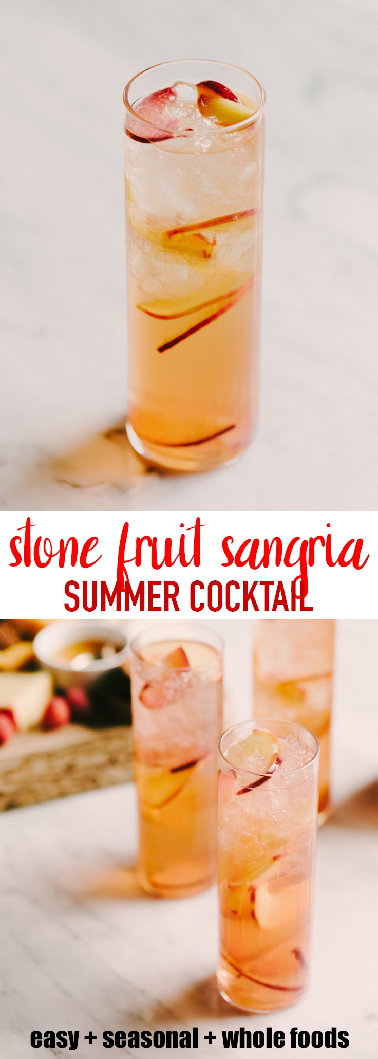 This stone fruit sangria is refreshing, just sweet enough, and perfect for entertaining on a small or large scale. I like to serve it with a simple cheese platter for an evening happy hour or weekend afternoon gathering with great friends and good times. #sangria #cocktail #summer #stonefruit