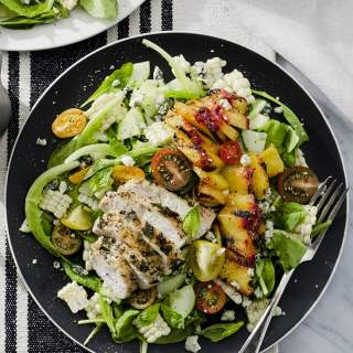 Basil Chicken Salad with Peaches and Corn