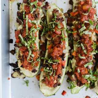 Italian Sausage Zucchini Boats