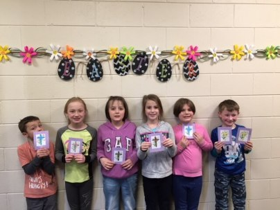 Our Easter card service project for our shut-in friends.