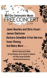 Mid-City Community Music: Free Concert @ Our Savior's Lutheran Church | San Diego | California | United States
