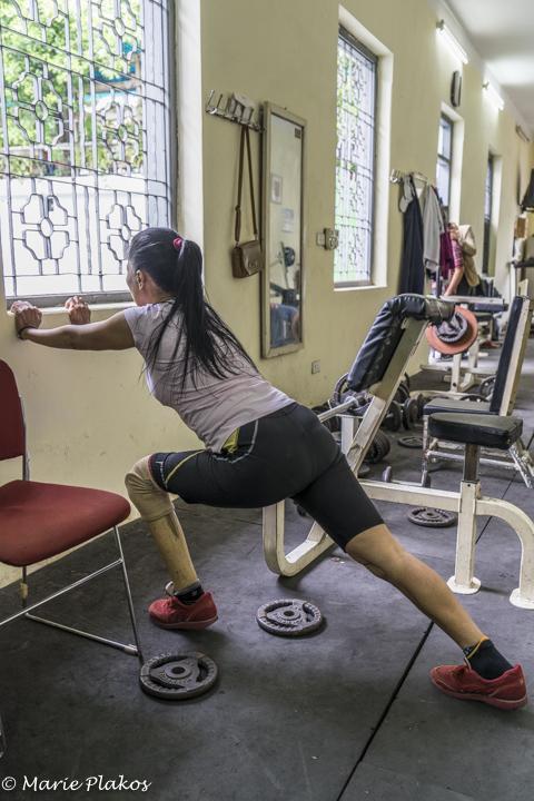 Nguyen stretching before her run