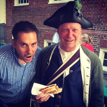 He makes the best hot dogs and roasted nuts. He started here in 1713 when they built the Old State House