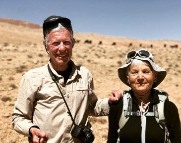 We are hiking the mountains in Morocco. Guess how old we are