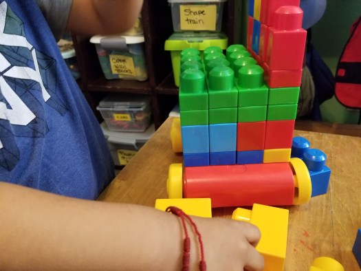 Child playing with blocks.