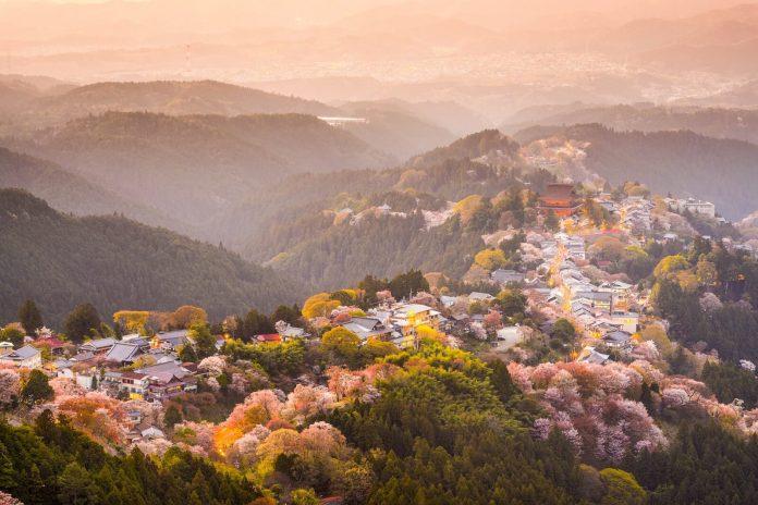 Pemandangan Gunung Yoshinoyama dari Hanayagura View Point