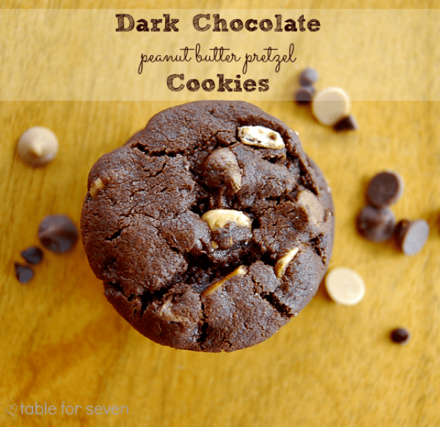 Dark Chocolate Peanut Butter Pretzel Cookies