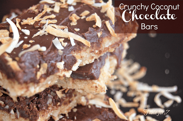 Crunchy Coconut Chocolate Bars from Table for Seven