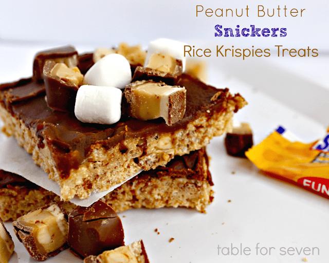 Peanut Butter Snickers Rice Krispies Treats