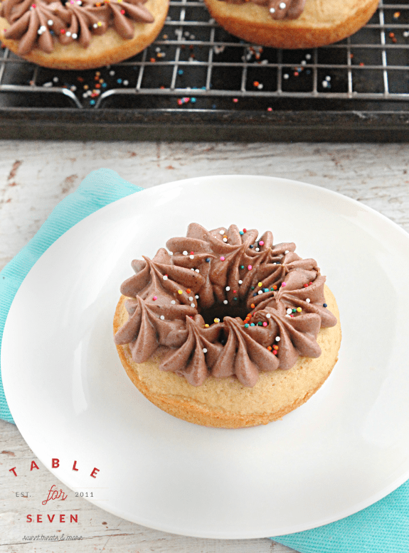Olive Oil Doughnuts with Chocolate Buttercream Frosting
