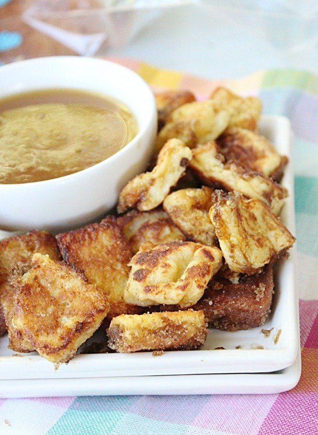French Toast Bites with Maple Butter Dipping Sauce from Table for Seven