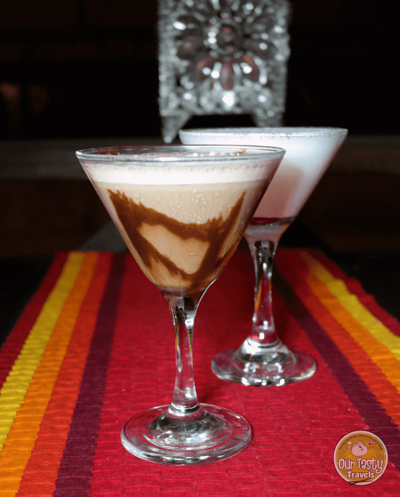Chocolate Martini and White Chocolate Martini at Finn and Martini on Ambergris Caye, Belize - ourtastytravels.com