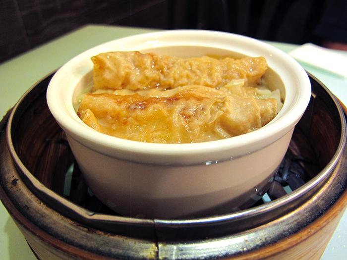 Stuffed Bean Curd Wraps with Oyster Sauce http://ourtastytravels.com/blog/dimdimsum-dim-sum-hong-kong/ #dimsum #hongkong #ourtastytravels
