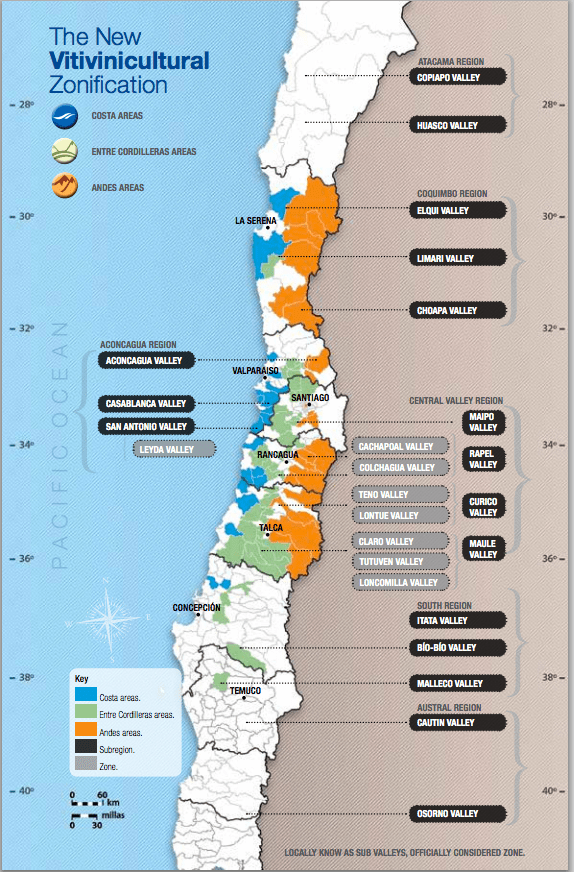 Map of Chile's Wine Regions (Wines of Chile)