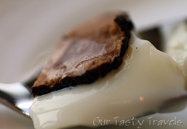 Milk Jelly with Black Truffle at Tin Lung Heen http://ourtastytravels.com/restaurants/tin-lung-heen-cantonese-dim-sum-at-the-ritz-carlton-hong-kong/ #ourtastytravels