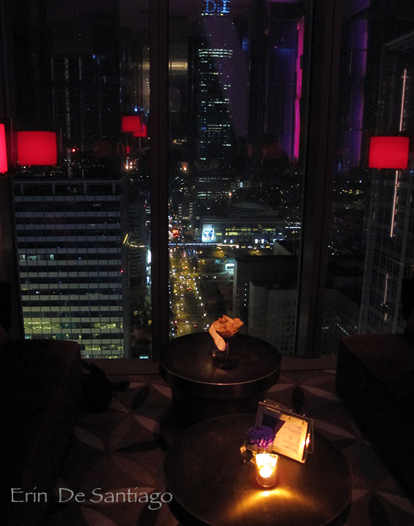 View of Taipei 101 from VIP style lounge room at Yen Bar http://ourtastytravels.com/blog/truffle-infused-cocktails-w-hotel-taipei-taiwan/ #ourtastytravels #taipei