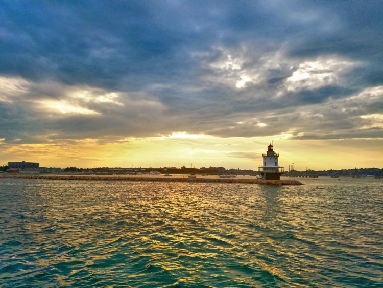Sunset view of Spring Point Ledge Lighthouse