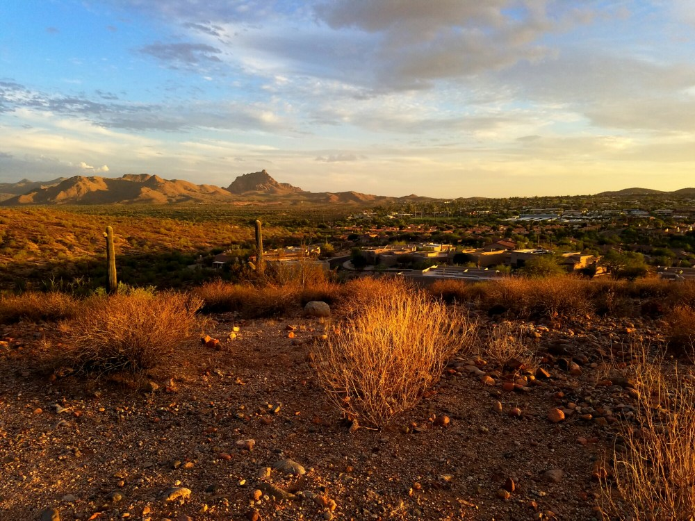 View of Red Mountain at sunset from the Lake Overlook trail in Fountain Hills, Arizona