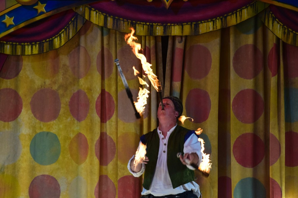 Thom Sellectomy swallows swords and juggles flaming torches