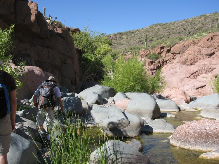 Just getting our feet wet heading into the canyon at The Jug