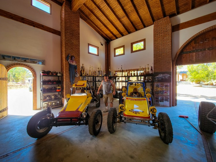 Race cars, trophies, and helmets are among the memorabilia on display at the Chenowth Museum in Baja California