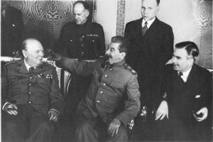 Визит премьер-министра Великобритании У. Черчилля в Москву. На приеме в Кремле. Октябрь 1944 г