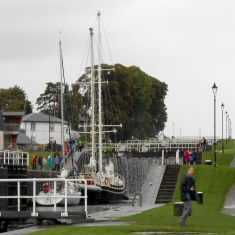 Large sailing ship in the first lock at Neptune's Staircase.