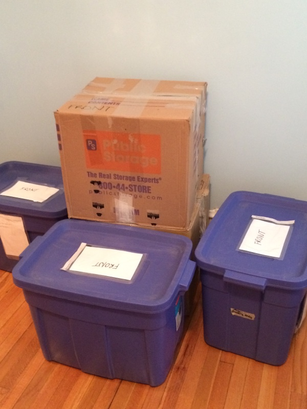 Some boxes labeled front for easier access in the unit