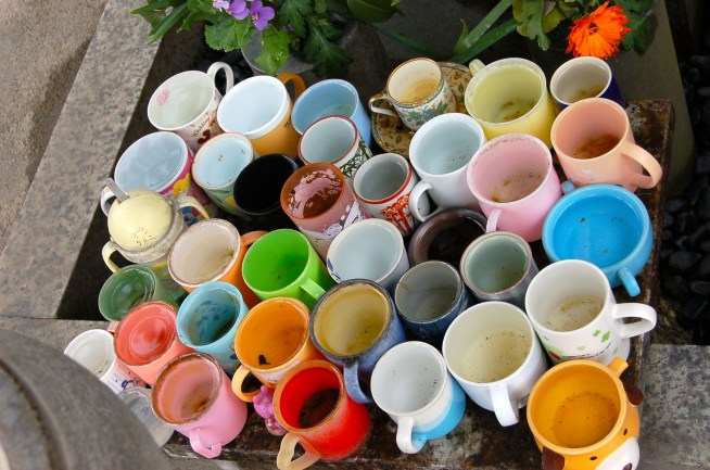 Collection of cups with (temple) water