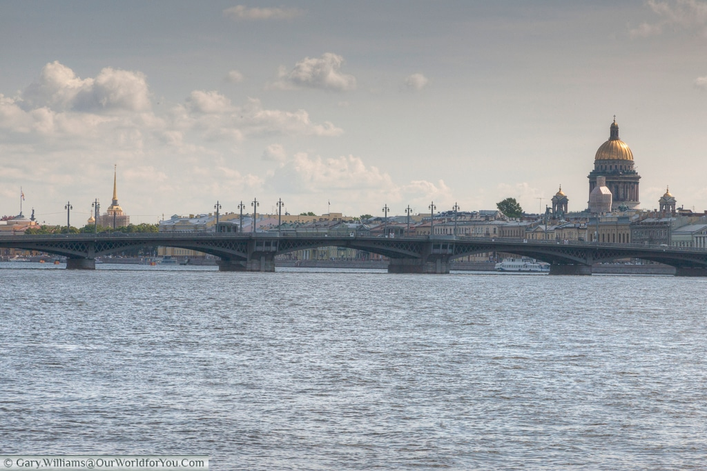 The Blagoveshchensky Bridge, with St Issac's in the background. St Petersburg, Russia