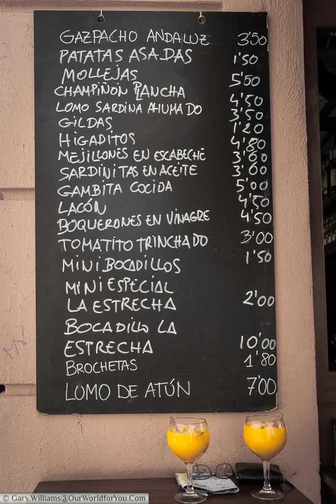 The tapas menu board at Tasquita La Estrecha, Valencia, Spain