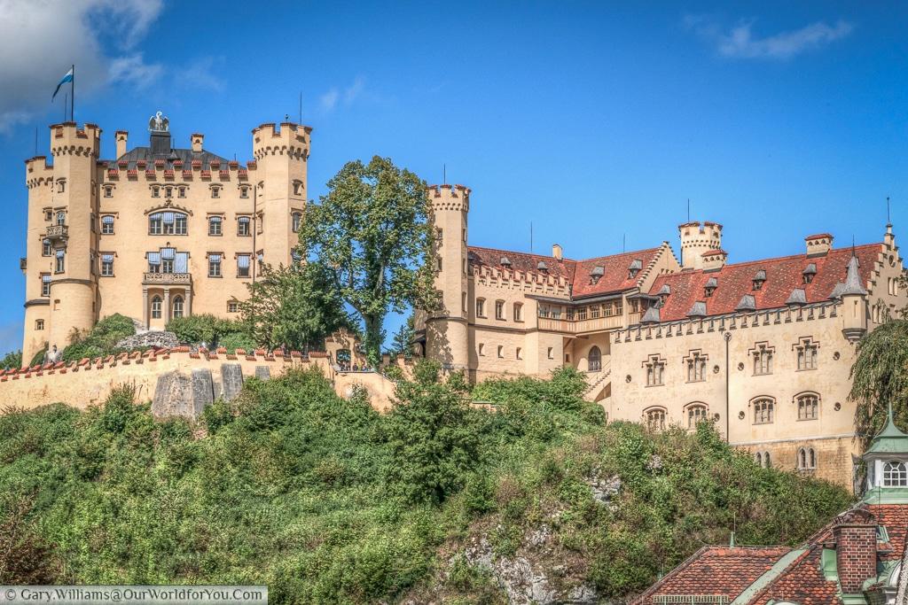 Looking up at Schloss Hohenschwangau, Hohenschwangau, Bavaria, Germany