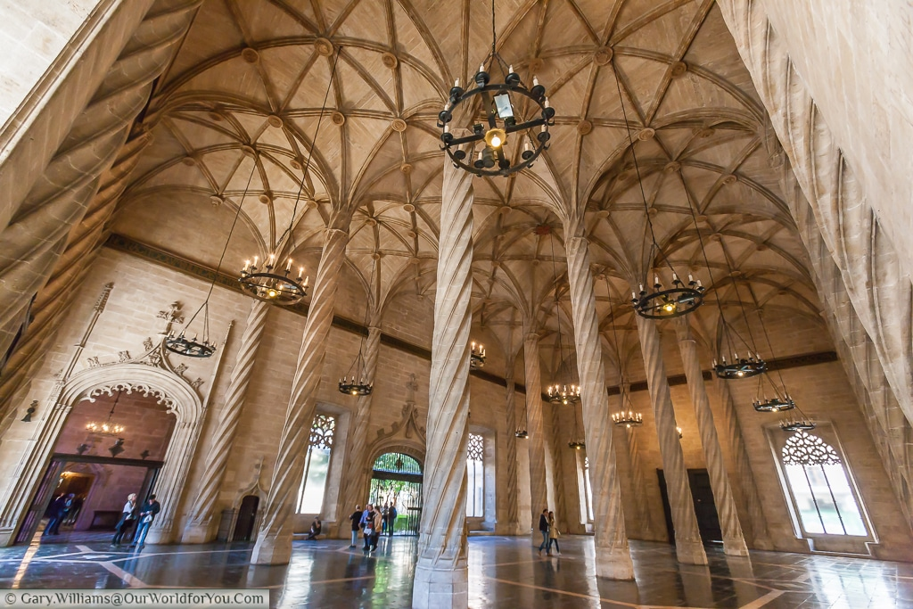 The Hall of Columns in the Silk Exchange or Llotja de la Seda, Valencia, Spain