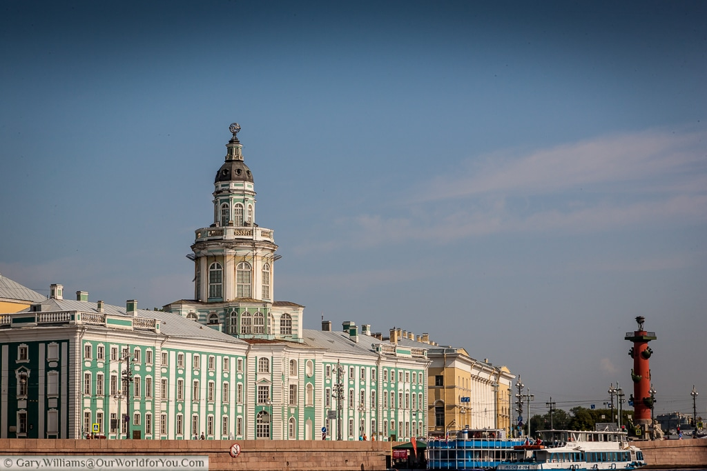 The Kunstkammer with one of the red rostrum towers in the background, St Petersburg, Russia