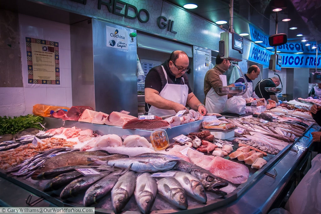 The fishmonger in Mercado Central, Valencia, Spain