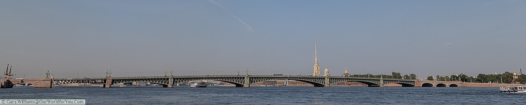 The full span of the Trinity bridge over the River Neva, St Petersburg, Russia
