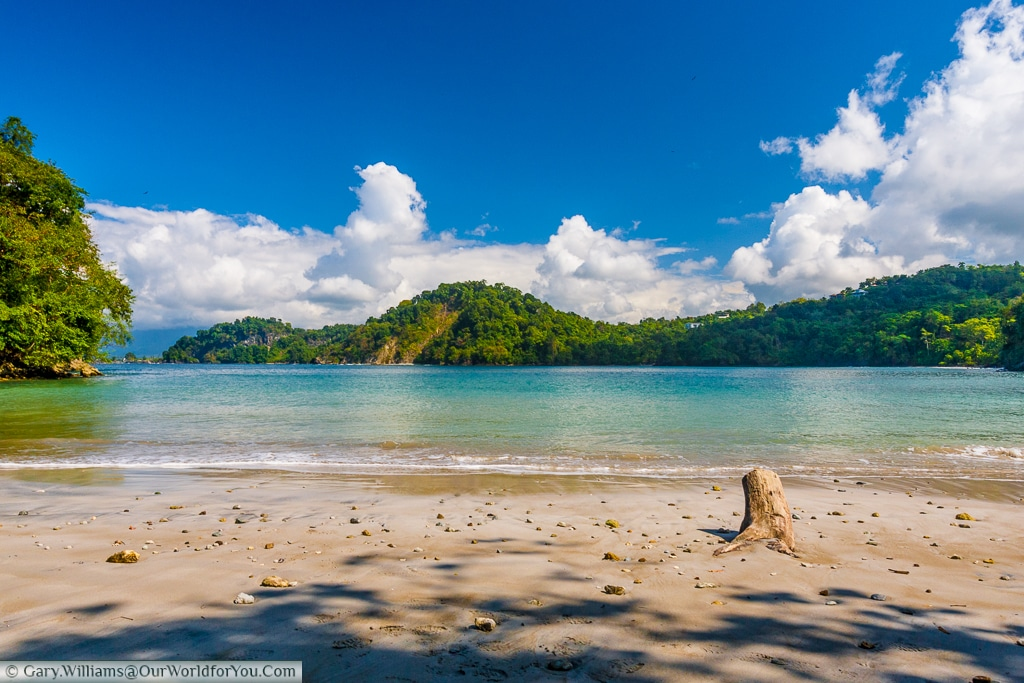 A very quiet beach, set in a bay in Manuel Antonio, Costa Rica