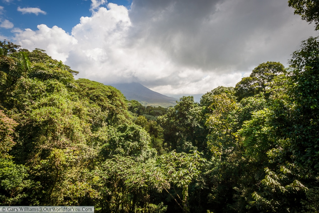 The view of the volcano from one of the many crossings at the Mistico Arenal Hanging Bridges Park, Arenal, Costa Rica