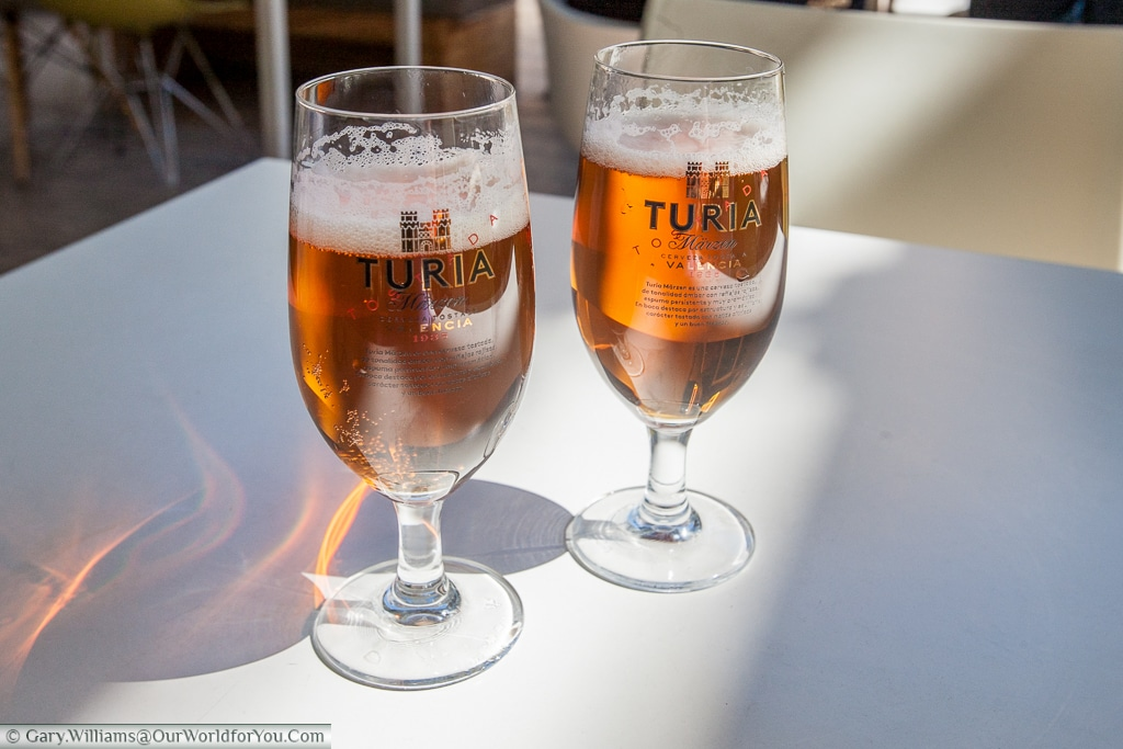 Turia Beers being consumed in the Mercado colon, Valencia, Spain