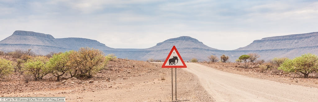 An elephant crossing sign in Namibia.