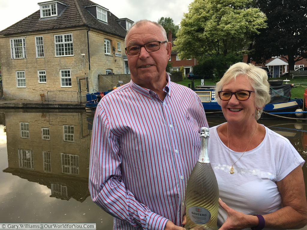 Celebrating the 50th Wedding Anniversary on-board Moonbeam at Hungerford on the Kennet & Avon Canal, England, United Kingdom