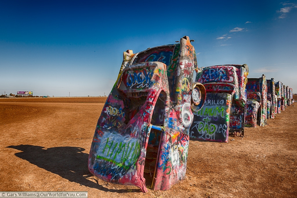 All the cars lined up at the Cadillac Ranch, Amarillo, Texas