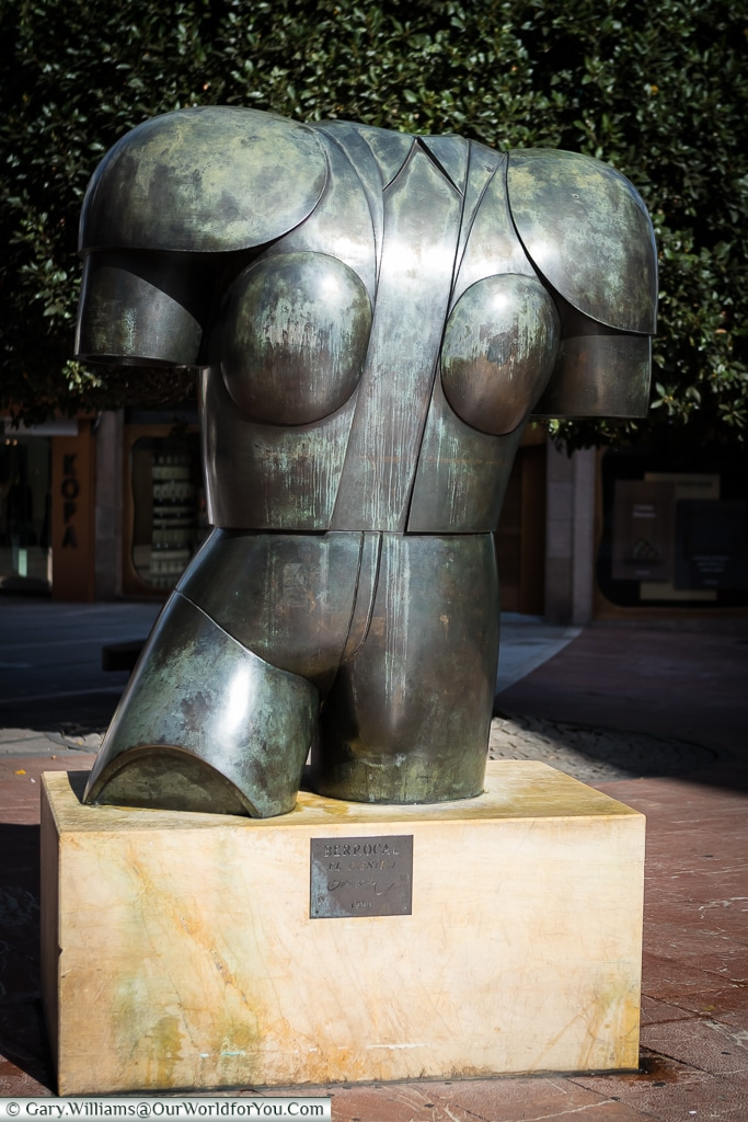 'El Diestro' a bronze sculpture of the torso of a bullfighter, Oviedo, Spain