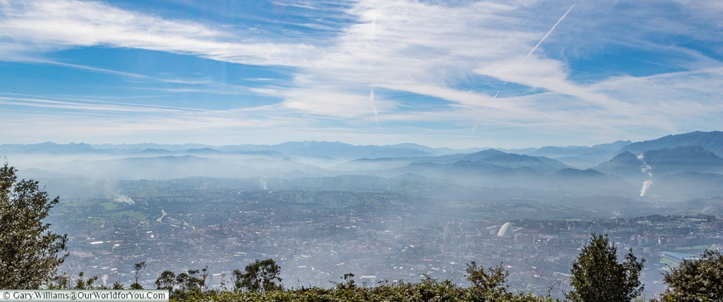 The view of Oviedo from Mount Naranco, Spain