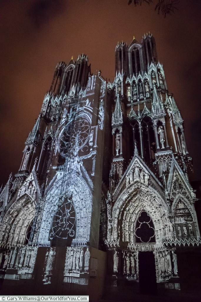 Illuminated Cathedral, Reims, Champagne Region, France