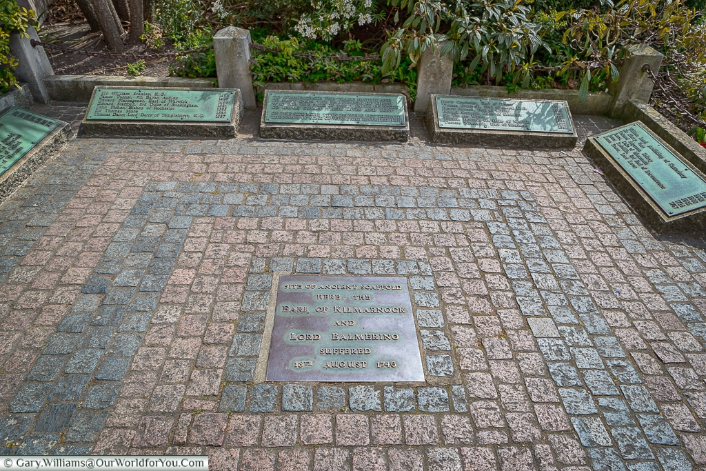 Site of the gallows in Trinity Square Gardens, London, England