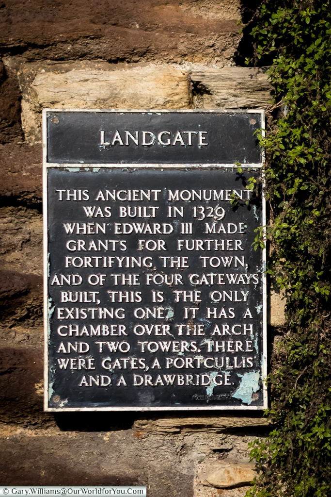 The Landgate plaque, Rye, East Sussex, England, UK