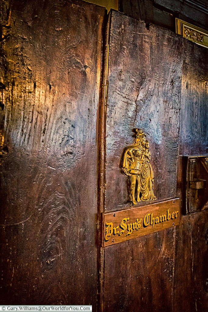 The entrance to Dr Syn's Chamber at the Mermaid Inn, Rye, East Sussex, England, UK